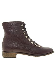 Enlarge New Kid Penny Dreamcore Stud Burgundy Lace Up Ankle Boots