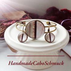 Cabochon Schmuckset Armreif/Armband 25mm und Ohrhänger 12mm Bronze Pastell Geometrisch Materialmix Optik