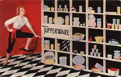 This ad for Tupperware is hilarious. It's as if she's finished the tupperware shrine and is now gloating over her amazing collection.