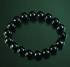 Tibetan Black Jade Gemstone Bead Buddhist Mala Bracelet