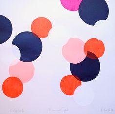 Polka Dots...navy, flame orange, and pink
