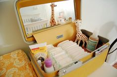 vintage train case as a diaper caddy @Mandy Mosiman Meier  (THis is what I was thinking)