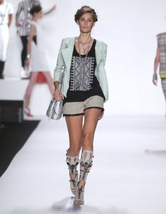 Rebecca Minkoff Look 16: Laser Cut Leather Latin Jacket in Aloe Embroidered Jersey Gia Tank in Black