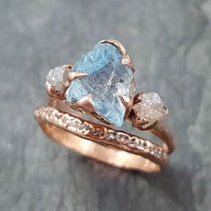 aquamarine and diamonds rough and in rose gold