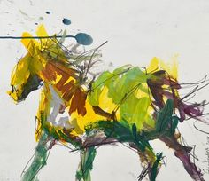"Colorful Horse Painting, mixed media on paper, measures 13.50"" x 15.50"""