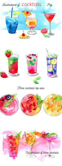Watercolor cocktails by mistakeann on /creativemarket/ Cocktail Illustration, Art And Illustration, Food Illustrations, Watercolor Illustration, Watercolor Food, Watercolor Flowers, Art Aquarelle, Food Painting, Food Drawing