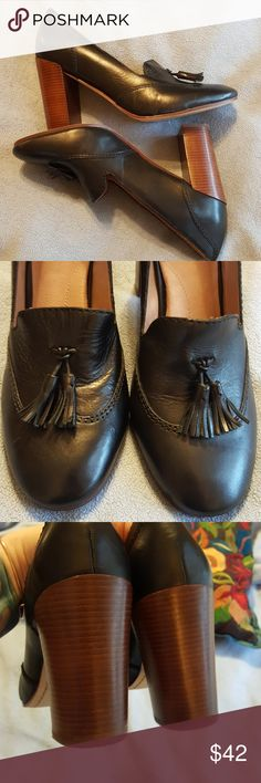 """Land's End Wing Tip Style Heels With Tassels These have never been worn outside and only worn inside, on carpet, twice. They're gorgeous, versatile and perfect for work or play. He is are just under 4"""" tall and length of heel and back of shoe is 6.25"""". These look like cow leather bit since it doesn't say I'm figuring vegan leather. No trades. Pet and smoke friendly home. These are just stunning and perfect inside and out. Thank you! Lands' End Shoes Heels"""