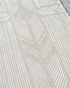 biased in alabaster on hemp / organic cotton handprinted fabric panel on Etsy, $7.69