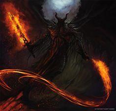 Demonic figure wielding flaming sword and whip Fantasy Demon, Demon Art, Dark Fantasy Art, Dark Art, Dark Creatures, Fantasy Creatures, Devaint Art, Angel Demon, Fire Demon