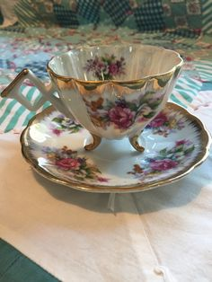 Vintage Tea Cup Set 2 Pieces Pearlized Floral by redtabbyboutique