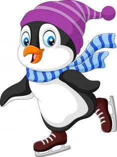 Pingüino de dibujos animados patinaje so... | Premium Vector #Freepik #vector #navidad #invierno #nieve #deporte Penguin Clipart, Penguin Cartoon, Cute Cartoon, Angel Wings Art, Penguins And Polar Bears, Penguin Party, Simple Birthday Cards, Theme Pictures, Machine Quilting Designs