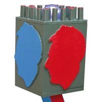 """""""Autoritratto"""" legno dipinto e laserpod (part.), cm 117x31x31, 2007"""