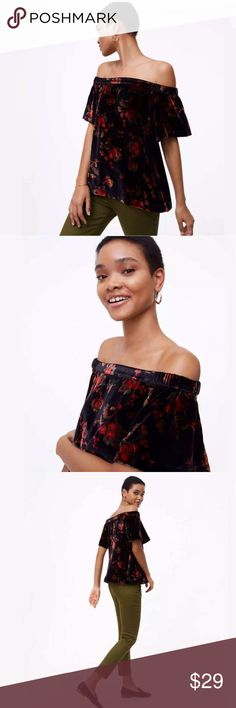 5e34e4195b3afe ANN TAYLOR LOFT Velvet Off the shoulder top Lush in floral velvet meets an  off the