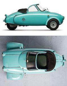 So my bulldog wants this car! Carl Jurisch's 1957 Motoplan Concept: Personal Transportation Via Self-Propelled Sidecar Automobile, Microcar, Reverse Trike, Pt Cruiser, Weird Cars, Transporter, Unique Cars, Vw T1, Cute Cars