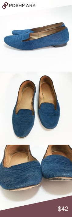 Barney's New York blue pony hair flats. Size 7.5 Barney's New York blue pony hair flats. Size 7.5. Dark brown piping. A few spots where the hair is missing. Shown in photos. Barneys New York CO-OP Shoes Flats & Loafers