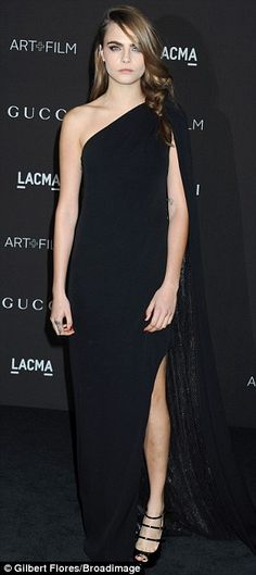 Cara Delevingne wowed in a flowing black one-shoulder gown at the LACMA Art + Film Gala http://dailym.ai/1s5tQyJ