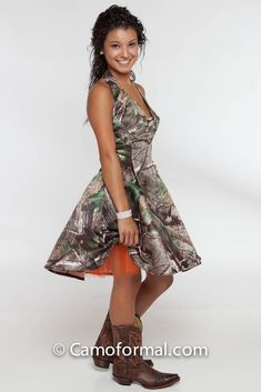 3656 Tessa Short Camo Flare Dress With Rhinestone Connector Pin Optional Colors For