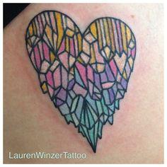 Lovely rainbow crystal tattoo by @Lauren Winzer