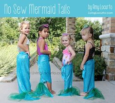 No Sew Mermaid Tails by Amy Locurto at LivingLocurto.com http://www.livinglocurto.com/2012/07/mermaid-tails-party-craft/ #no #sew #mermaid #tails #sewing #kids #children #girls #swimming #coverup