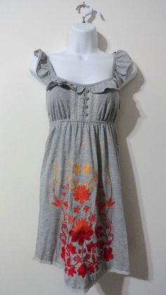 Anthropologie Flying Tomato Flower Tunic Long Blouse Shirt Top Vintage Small S #FlyingTomato #Blouse
