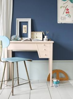 Stiffkey blue paint for all over in room 3/office. Love this with the white.