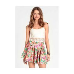 Floral Haze Pleated Denim Skirt