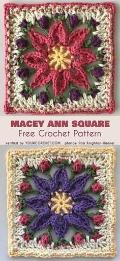 Macey Ann Square for Blankets Beautiful Flower Square for Afghans. Designed in Macey Ann Square for Blankets Beautiful Flower Square for Afghans. Crochet Afghans, Bag Crochet, Crochet Motifs, Crochet Flower Patterns, Crochet Pillow, Afghan Crochet Patterns, Crochet Crafts, Crochet Yarn, Crochet Flowers