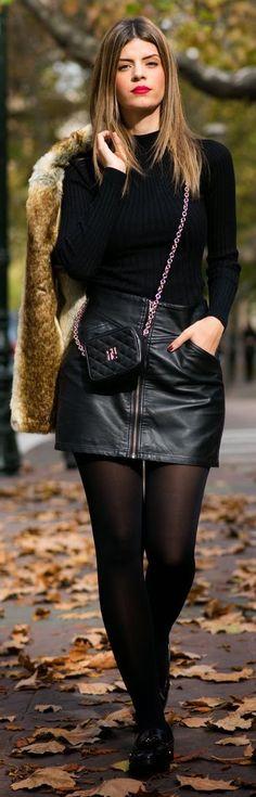 Black Leather Mini Skirt by Ms Treinta