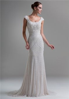 Beautiful beaded sheath gown with a scoop neckline // KYM15 from Ysa Makino