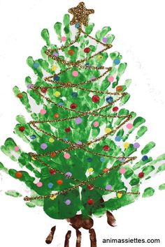Kids: Christmas Tree Finger Painting Project, so colourful and great fun for little fingers! Handprint Christmas Tree, Christmas Tree Painting, Preschool Christmas, Toddler Christmas, Christmas Crafts For Kids, Christmas Activities, Christmas Projects, Preschool Crafts, Holiday Crafts