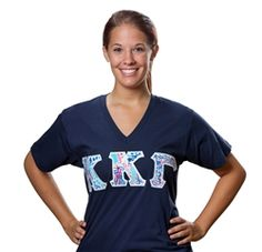 Kappa Kappa Gamma V-Neck Stitched Letter Shirt Sorority Merchandise Including Bid Day Gifts, Initiations, Sorority Gifts, Big Sis, Lil Sis, And More.