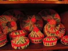 Baskets from the Oromo region of Ethiopia - Aniline dyes used in these wonderfully colorful baskets - collected by world travelers, and showing at the Goldstein Museum of Design- U of M - St Paul, MN Curated by Susan McArdle   Through the summer daily.