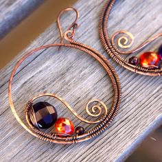 Copper Quartz Garnet CZ Paisley Hoops by AlaskaFirefly on Etsy, $49.00