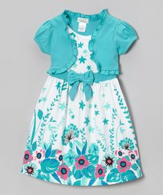 Teal Floral Leaf Dress & Shrug - Infant, Toddler & Girls
