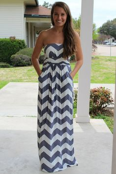 Chevron Maxi Dress - Grey | Hazel & Olive