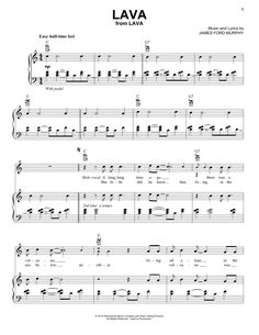 Download Piano/Vocal/Guitar sheet music to Lava by James Ford Murphy and print it instantly from Sheet Music Direct.