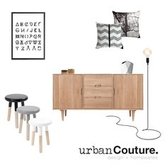Contemporary Urban Chic Style... Get this look- 1. Hugo American Oak Sideboard, Buffet and Console- Large 2. Malmo Small Wooden Stools in Black, Grey and White 3. Graphic Alphabet Print 4. Tall Cord Floor Lamp 5. White and Grey Chevron Cushion 5. Charcoal and White Concrete Cushion 6. Danish White Geometric Ceramic Vase- Large 7. Hex Timber Boxes in Gold and Black