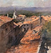 Roofs of Apt by Vladislav Yeliseyev Watercolor ~ 15 x 14