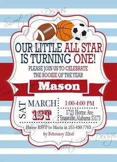 Birthday Invitation  All Star Birthday by SweetBeeDesignShoppe, $12.00