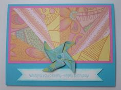 TWIRLY WHIRLY handmade Stampin Up Birthday card by MadmBlueberry, $2.00