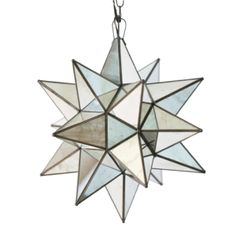 Triangle mirrored glass panes are tiled together to make this stunning mercury glass star chandelier. For something unique and different hang this fixture in yo