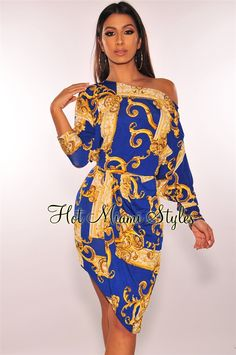 Gender:Women Sleeve Style:Regular Dresses Length:Above Knee, Mini Silhouette:Sheath Season:Autumn Waistline:Natural Style:Sexy & Club Material:Polyester,Cotton Sleeve Length(cm):Full Pattern Type:Print Decoration:Hollow Out Neckline:Asymmetrical Plus Size Gowns Formal, Plus Size Dresses, Blue Dresses, Royal Blue And Gold, Blue Gold, Robes Glamour, Special Dresses, Long Sleeve Mini Dress, Occasion Dresses