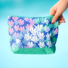 Mer-Mazing Accessory Bag~Preppy Monogrammed Cosmetic Bag~Floral Travel Pouch~Personalized Make Up Ba Monogram Initials, Monogram Letters, Birthday Gifts For Girls, Gifts For Kids, Camping Accessories, Bag Accessories, Personalized Makeup Bags, Pencil Bags, Girls Bags