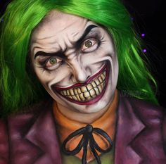 [ Halloween Makeup : Illustration Description Amazing Face Paintings by Jordan Hanz Halloween Makeup Looks, Halloween Make Up, Halloween Inspo, Joker Face Paint, Jordan Hanz, Joker Make-up, Comic Makeup, Gotham City, Theatrical Makeup