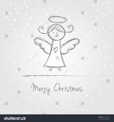 Illustration of christmas angel with snow, doodle style