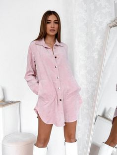 Πουκάμισο Μακρύ Κοτλέ Ροζ - Higher Love Rompers, Shirt Dress, Shirts, Tops, Dresses, Fashion, Vestidos, Moda, Shirtdress