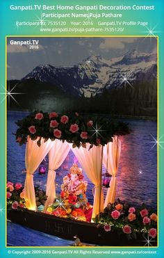 Temple decor - Puja Pathare Home Ganpati Picture 2016 View more pictures and videos of Ganpati Decoration at www ganpati tv Gauri Decoration, Mandir Decoration, Thali Decoration Ideas, Ganapati Decoration, Diy Diwali Decorations, Backdrop Decorations, Festival Decorations, Balloon Decorations, Flower Decorations