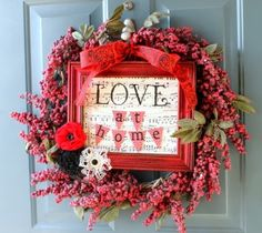 Upcycled Christmas Berry Wreath and Frame makes for a pretty cute Valentines wreath