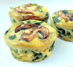 Crustless Spinach Quiche Cups! Ingredients: 1 (10 oz) package fresh spinach, 4 eggs, 1 cup shredded cheese 1 (8 oz package) mini-bella mushrooms, 1-2 Tbsp, heavy cream or half-and-half (optional), Salt and Pepper, to taste