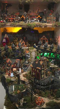 Commission a Custom Halloween Village Display Halloween House, Holidays Halloween, Halloween Fun, Halloween Decorations, Michaels Halloween, Disneyland Halloween, Halloween Village Display, Pop Up Card, Adornos Halloween